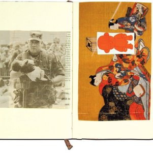 A page from the book of Christian Lacroix, who uses the books to catalog interesting prints and images.