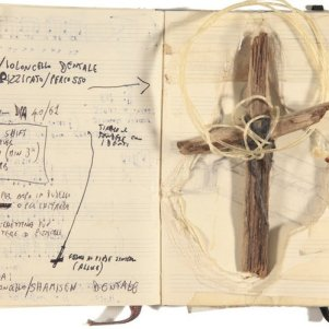The cellist Giovanni Sollima made these notes. He's one of the many artists who use Moleskines as ad hoc scrapbooks.